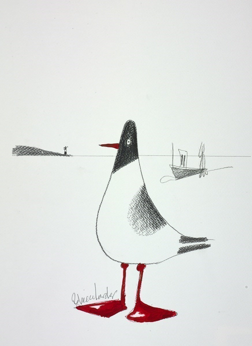 Harbour Bird Sketch IV by Rebecca Lardner -  sized 10x11 inches. Available from Whitewall Galleries